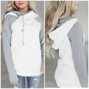 Tops - CHARLY WHITE GRAY DOUBLE HOODIE PULLOVER